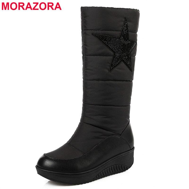 MORAZORA Plus size 35-44 Genuine leather women snow boots high quality warm down winter boots platform rhinestone fashion shoes<br>