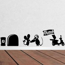 3d Funny mouse hole Pizza wall stickers for kids rooms decals vinyl wall art decoration home vintage wallpaper mural(China)