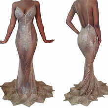 Buy Gold Glitter Maxi Dress Women Sexy Backless Sheer Mermaid Maxi Slip Dress Night Party Sequin Gown See Long Sparkly Dress for $25.99 in AliExpress store