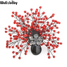 Wuli&Baby Handmade Red And Blue Crystal Flowers Brooches Women Men's Natural Stone Vase Brooch Luxury Banquet Weddings Brooches(China)