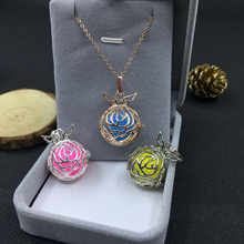 High quality Baby Angel Fairy necklace roses flower locket pendant figure chain new  brass girl women fashion jewelry NEWS