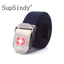 SupSindy men's canvas belt Red metal buckle strong military belt Army tactical belts for Male top quality men strap Army green