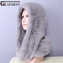 Glaforny 2017 Knitted Real Rex Rabbit Fur Hat Ear Muff Earwarmer Scarf Cap Soft and Fashionable 2 Use 22 Colors(China)