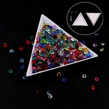 2017 Good quality 10 PCS/Lot DIY Storage Packing Box Plastic Acrylic Triangle Plate Nail Art Rhinestone Tray Tool Drilling Box