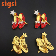 Wholesale make custom 40mm gold tone fairy tale red magic shoes crystal brooch, high heels broach for children