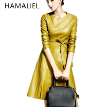 HAMALIEL New Autumn 2017 Fashion Women Long Sleeve Solid Color Leather Dresses Knee Length Office Dresses With Belt Yellow Black