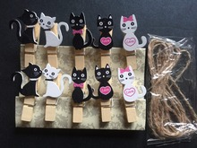 120pcs Love Cat Wooden Clips/Decorative Wooden Pegs/Place Card Holder Clip/ Art Photo Display Children's Decorative Gift Favors