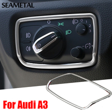 Car Chrome Trim Styling Headlight Switch Frame Covers For Audi A3 8V Sedan Hatchback Sportback 2013 2014 2015 2016 Accessories