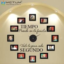"DIY Modern Design Wall Clock Spanish With Clock and Hands "" tiempo con la familia "" Creatively Acrylic&Vinyl Material Home Decor"