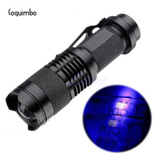 Coquimbo 3 Modes Portable Q5 LED UV Flashlight Ultra Violet Light Used AA 14500 Battery For Marker Checker Cash Detection SK68(China)
