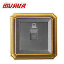 MVAVA Free Shipping Modern Electric Universal PC Wall Socket Wall Computer Plug Outlet Luxury Decorative Bronzed Panel(China)