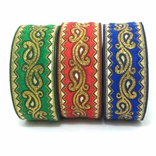 ZERZEEMOOY 9yards/lot wide 33MM Christmas Woven Jacquard Ribbon Paisley design for curtain and clothing accessory