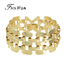FANHUA Steampunk Gold-Color bracelet Silver Color bracelet  Hip Hop Jewelry Chain & Link Bracelets & Bangles For Women