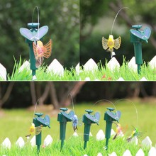Useful Vibration Solar Power Dancing Flying Fluttering Butterflies Hummingbird Garden Decor(China)