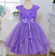 High quality 2016 Newest Summer Princess Girls Dresses Purple Sleeveless Round Neck,For Little Girls Kids Dress For Wedding