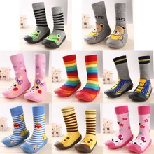 Newborn Baby Boys Girls Socks With Anti-Slip Soft Rubber Soled Outdoor Foot Socks Infant Children Animal Cartoon Floor Booties(China)