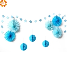 Set of 9PCS Star Paper Garland Honeycomb Balls Tissue Paper Fans for Kids Birthday/Wedding Party Decoration Baby Shower Supplies