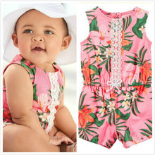 2017 NEWS BABY GIRL European and American fashion print sleeveless Jumpsuit clothing conjoined baby climbing(China)