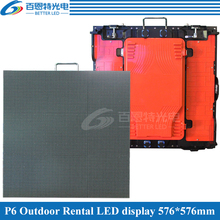 96*96 pixels 576*576mm Die-cast Aluminum Cabinet Waterproof RGB 3in1 Outdoor SMD Full color P6 LED display screen
