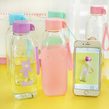 Cute Cartoon Water Bottles Glass Lemon Cup My Drink Bottle For Water With Protective Bag  Portable Cups Animal Cover QQB250