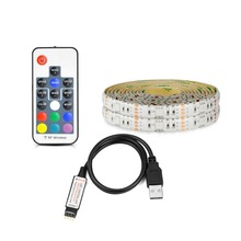 Neon Accent LED Strip 5050 RGB Lights + Wireless RF Controller 5V USB LED Adhesive Tape Lamp for Flat Screen TV , PC Decoration(China)