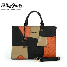 38206de4de8b Fashion Handbags Saffiano Shoulder bags Patchwork Tote Business Women Bag  Metal Pendant Bolsa