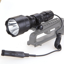 New 600LM T6 LED Tactical Flashlight Torch for Outdoor Hunting Lamp with 20MM Ring Mount Remote Pressure Switch(China)