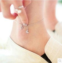 100% 925 sterling silver high quality shiny crystal star & moon ladies`anklets jewelry gift drop shipping women anklet girl(China)