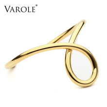 VAROLE Simple Lines Exaggerated Bracelets & Bangles for Women Cuff Bangle Gold/Silver Colors Noeud Armband Pulseiras(China)