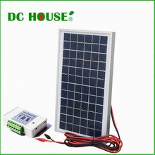UK Stock 10w 12V Polycrystalline Solar Panel Complete Kit 10W Poly Solar Panel+3A Controller +Battery Clips(China)