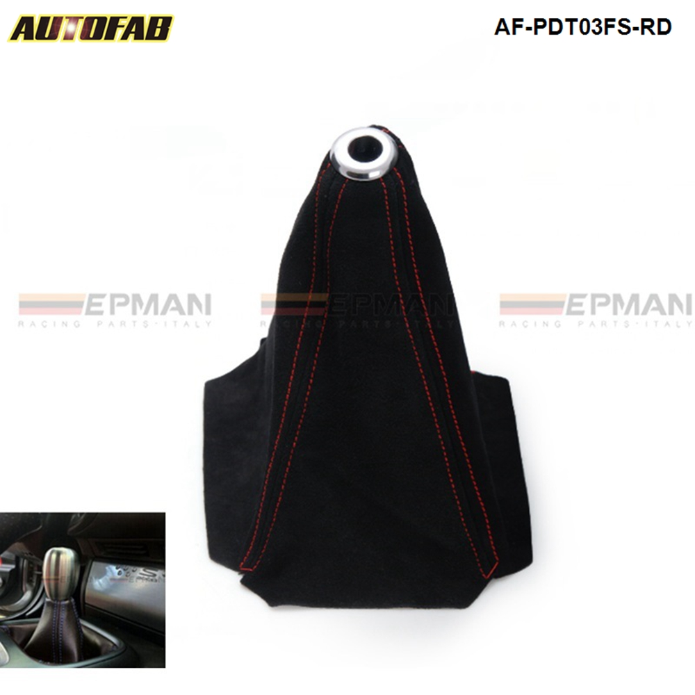 Gear Gaiter Shift Boot Manual Black Suede With Red Stitching
