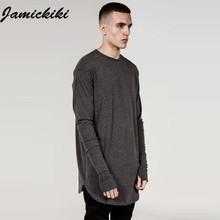2016 Latest Jamickiki Brand Full Sleeve O-neck Mens Hip Hop Casual Long T Shirt The High Street Fashion Clothing Asian Size