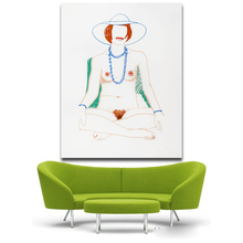 Wall Art Nude Painting Sexy Female Canvas Prints Naked Tom Wesselmann Monica crosslegged with Beads No Frame