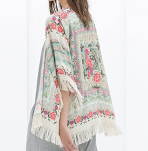 New Fashion Ladies floral Pattern tassel Cape vintage loose Outwear casual Tops elegant Cape Lady kimono blouses#P0805