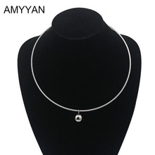 European style simple round ball pendant Torques women ladies metal silver wire necklace collar choker statement stainless steel