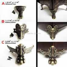 4x Decorative Antique Brass Vintage Lion Goat Jewelry Chest Box Wood Case Furniture Feet Leg Corner Protector Enough Screw