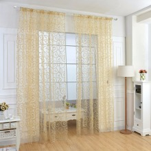 Floral Flocking Double S Shaped Pattern Tulle Curtain House Decor Door Panel Sheer Scarf Window Curtain #229327