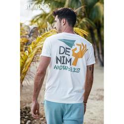 SIMWOOD 2019 летняя новая футболка Мужская модная футболка с принтом сзади 100% Хлопок Забавный винтажный дизайн высокое качество плюс размер 190237