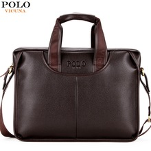 VICUNA POLO Promotion Famous Brand Handbag High Quality PU Leather Men Tote Bag borse Classic Sewing Thread Design Men Sling Bag(China)
