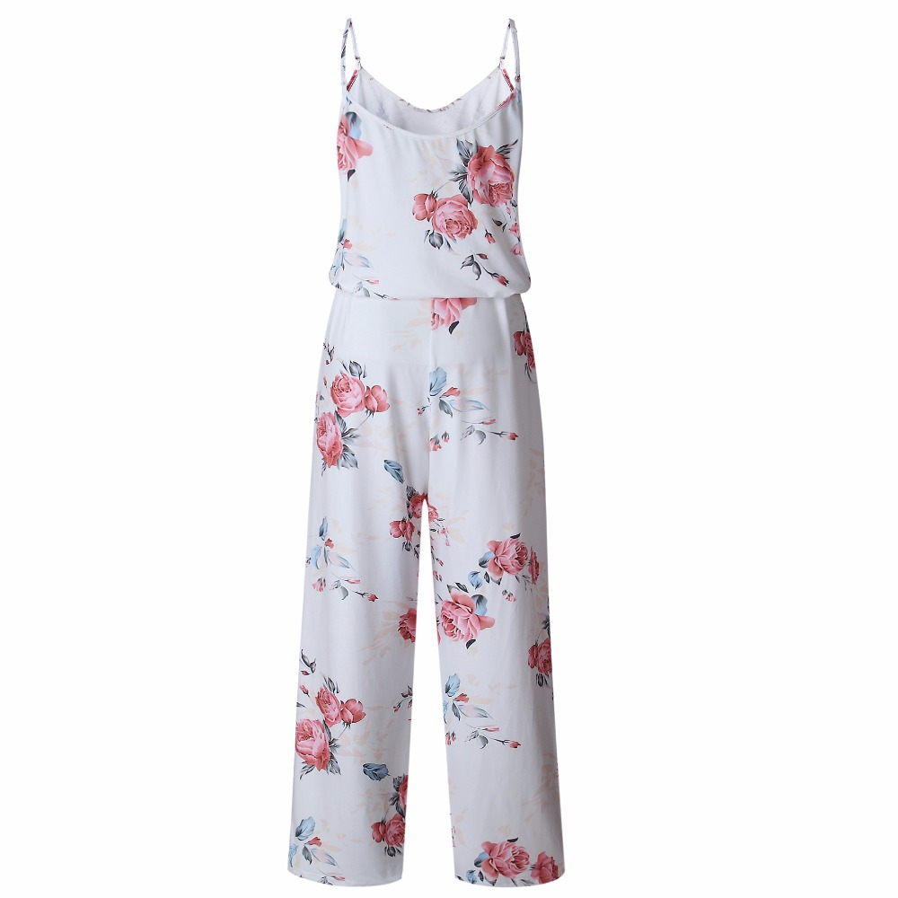 Spaghetti Strap Jumpsuit Women 2018 Summer Long Pants Floral Print Rompers Beach Casual Jumpsuits Sleeveless Sashes Playsuits 18