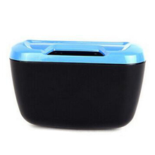 Newest Fashion Mini Car Auto Rubbish Dustbin/Trash Can Garbage Dust Case Box/Car Storage Case/Car Trash Bin Blue and black