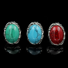 Hot Wholesale Lot 5pcs Tibetan Silver Oval Charm Carved Big Natural Oval Stone Ring Fine Jewelry Tibetan Silver Stone Rings