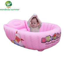 110*62*35cm 2016 Inflatable Swing Pool Baby Bathtub Folding Large Heat Preservation Toddler Bathtub Cartoon Child Paddling Pool(China)