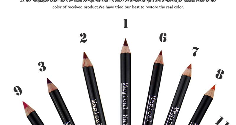 Magical Halo 12pcs/set Pro Waterproof Bright Pencil Lip Liner Pencil Makeup Cosmetic For Lips Long Lasting Lipliner Pen Lipliner 10