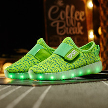 2016 latest fall Hot USB Rechargeable Led Shoes for Children Light weight Kids Sneakers Breathable Weave Sneaker Boys and Girls