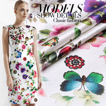 108cm Wide Good Stretch Satin Silk Fabric Butterfly flower Print Silk Fabric Sewing Material DIY Wedding Cheongsam Dress fabric