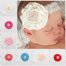2015 new flower design Headband Baby Girl Headbands Solid Color Children Hair Bow Elastic Infant Kids Hairband 10ps/lot