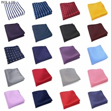 208-234 Mens Wedding Pocket Square Silk match for Suit Tie Men's Handkerchief Accessories Jacquard Solid Dots Stripes Pattern(China)