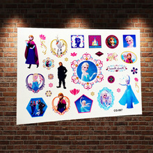 3D Froze Snow Queen Princess Elsa Anna Waterproof Tattoo Stickers ACG-067 Child Flash Temporary Tattoo Henna Lace Tatoo Paste(China)