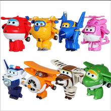 2017 8pcs Super Wings toys Mini Planes Model Transformation robot Deformation Airplane Robot Boys Christmas Birthday Gift hot